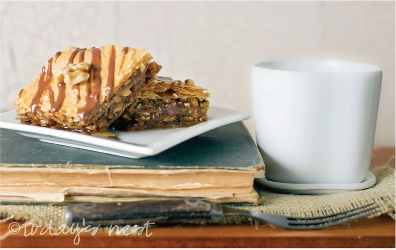 Baklava with Nutella Glaze